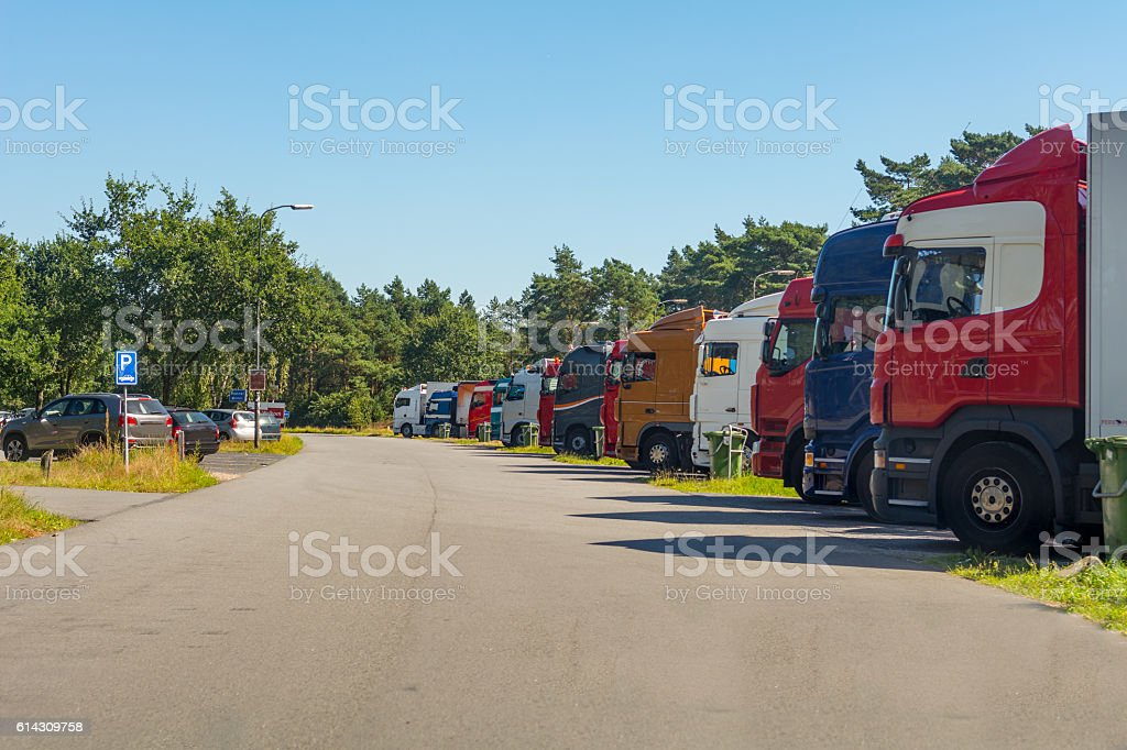 Truck stop parking dutch freeway stock photo