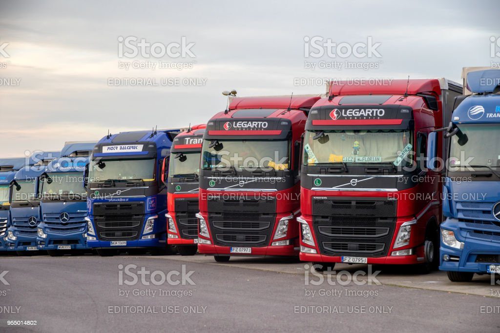 Truck stop parking Germany stock photo