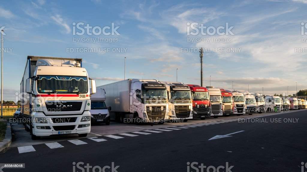 Truck stop parking stock photo