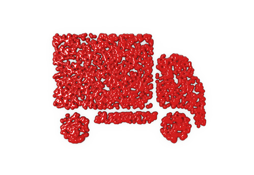 Truck Symbol dripping blood on white background