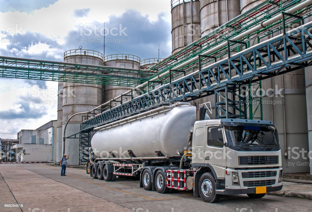 Truck, Tanker Danger Petrochemical Delivery stock photo