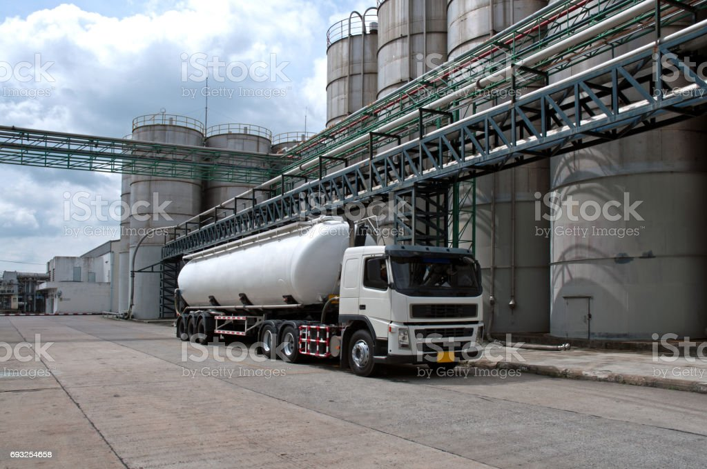 Truck, Tanker Delivery Danger Chemical in Petrochemical Plant stock photo