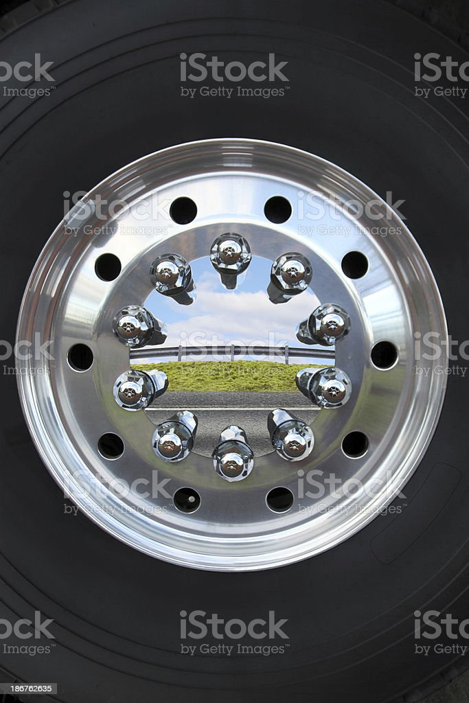 Truck tire reflection stock photo