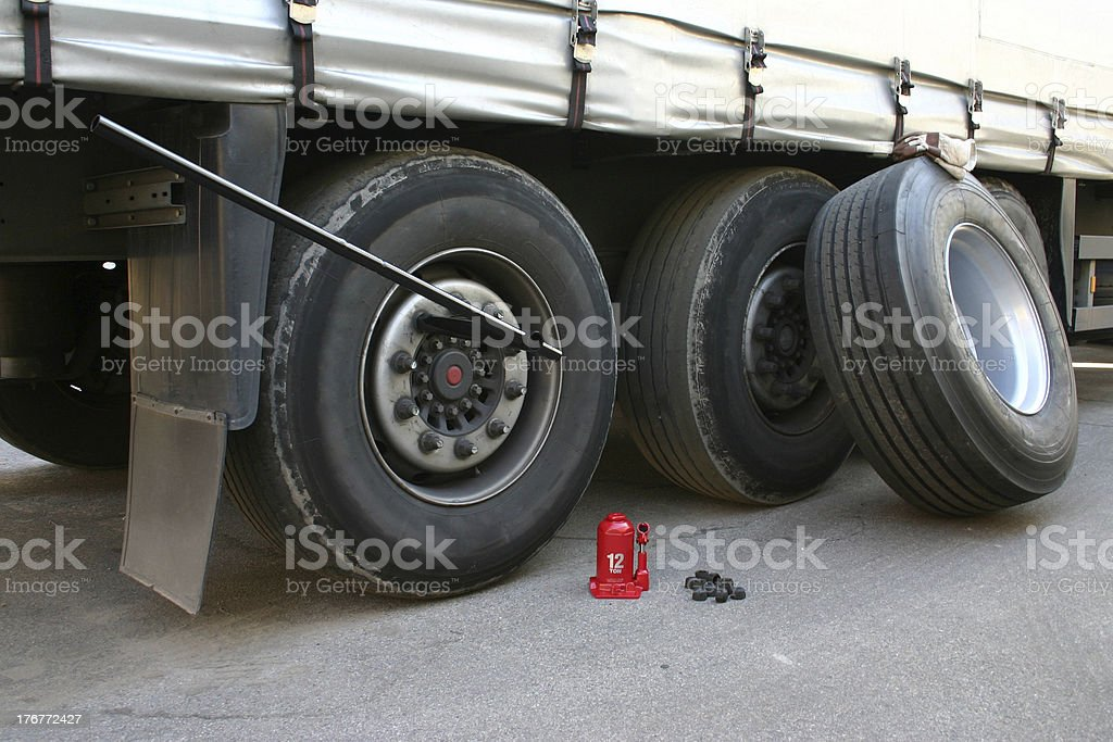 Truck tire replacement stock photo