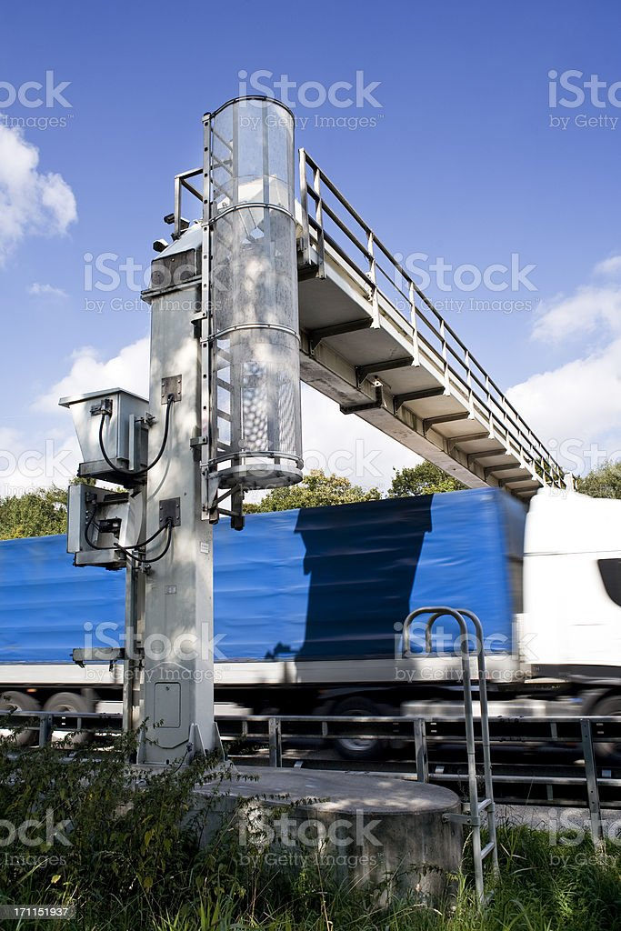 Truck toll system, german highway - control gantry royalty-free stock photo