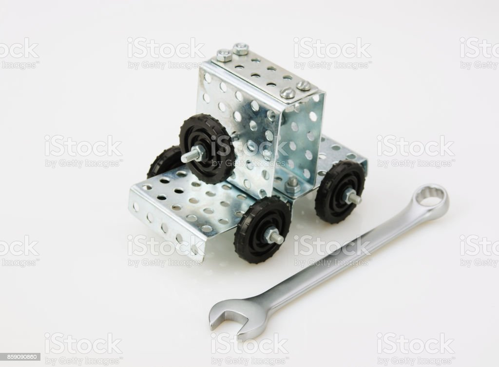truck tractor toy - metal kit for construction on white background stock photo