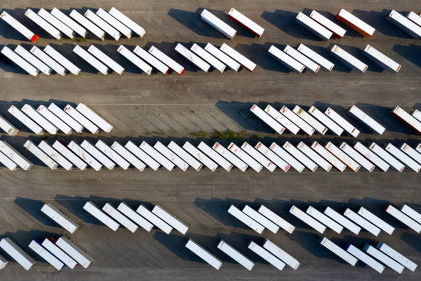 Truck Trailers and Shipping Containers, Aerial View stock photo