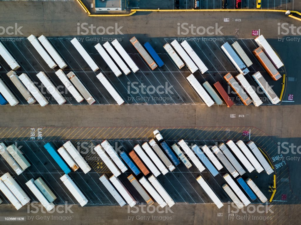 Truck Trailers Lined Up in Intermodal Freight Yard - Birds Eye View stock photo