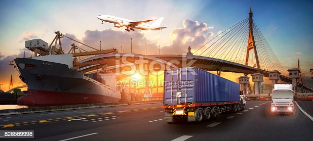 istock Truck transport container on the road to the port, Industrial Container Cargo freight ship for Logistics and transportation Import Export concept 826589998