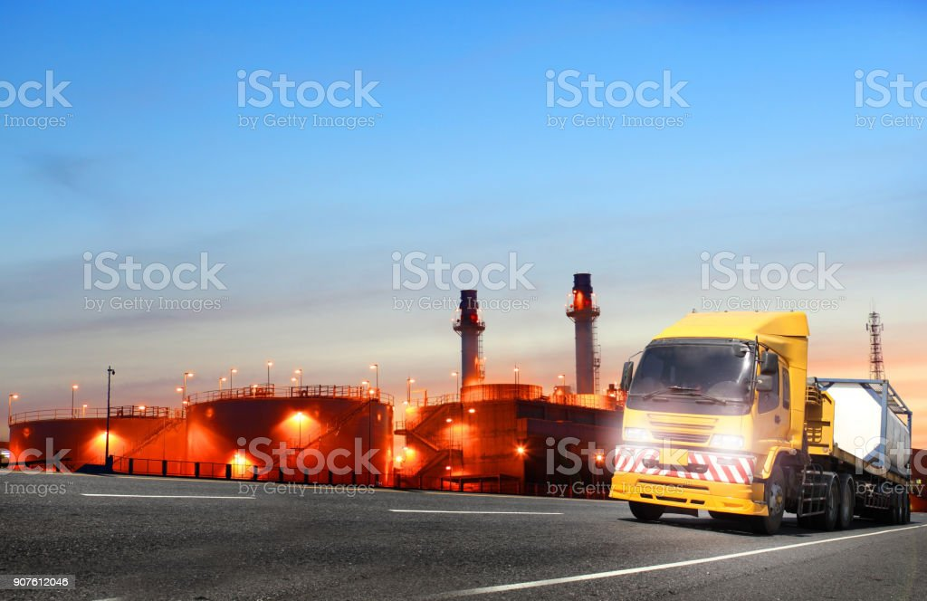 world industry oil and gas petrochemical plant and truck transport...