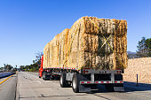 istock Truck transporting bales of hay on a freeway in Ventura County, South California 1194770173