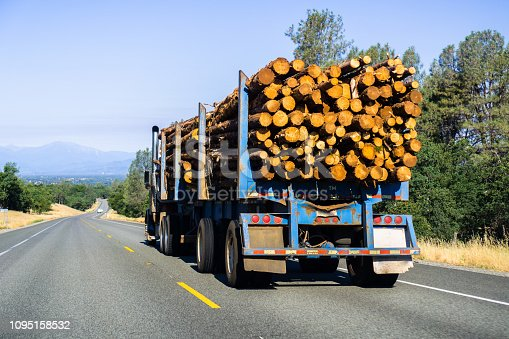 Truck transporting logs near Redding, California