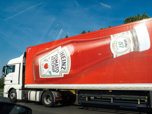 Truck transporting tomatoes ketchup heinz