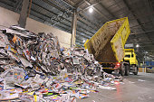 Truck transports recovered paper for recycling in a mill - paper production in a mill