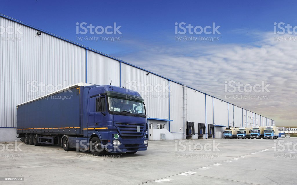 Truck, warehouse building royalty-free stock photo