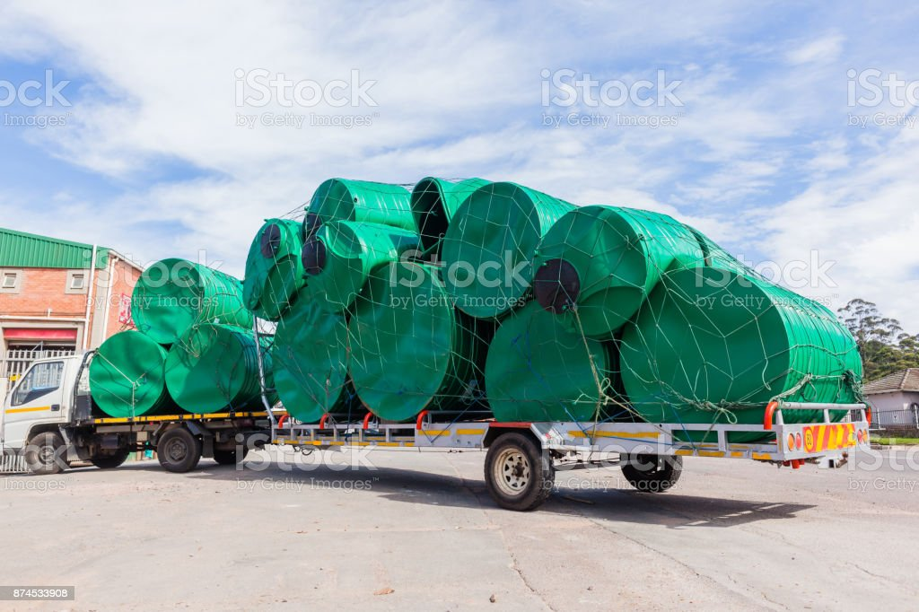 Truck Water Tanks Delivery stock photo