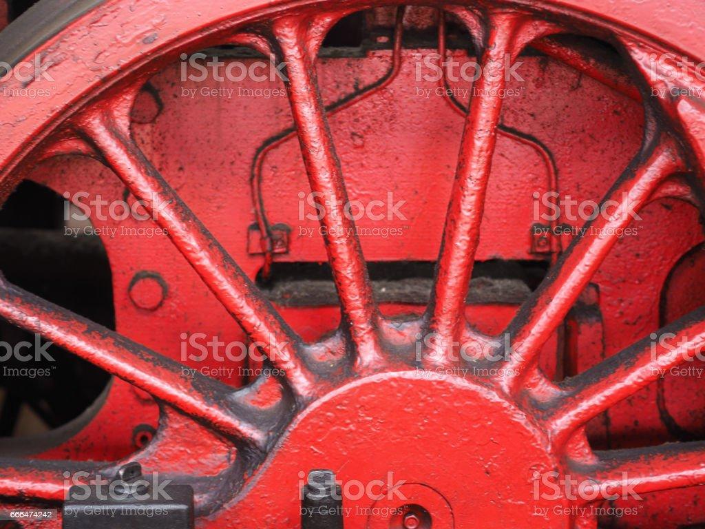 truck wheel of an team engine stock photo