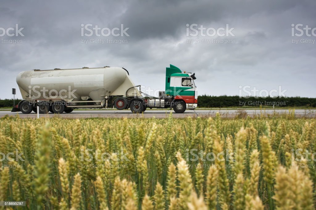 truck with bulk cargo stock photo
