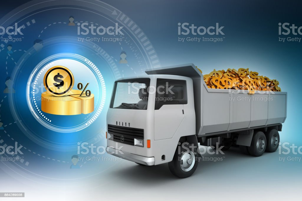 Truck with Dollar money royalty-free stock photo