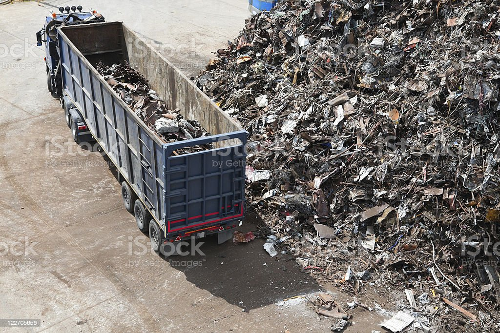 truck with metal scrap stock photo