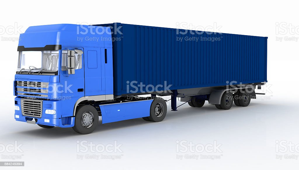 Truck with semi-trailer isolated on white stock photo