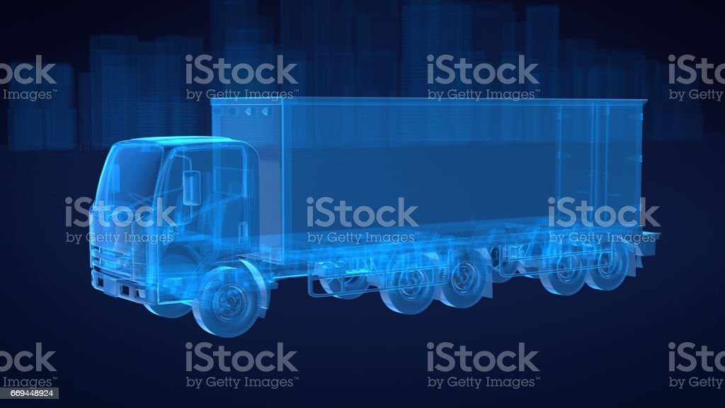 Truck x ray blue transparent with city background.3D rendering stock photo
