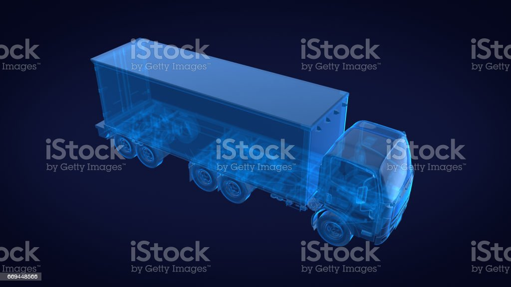 Truck x ray blue transparent.3D rendering stock photo
