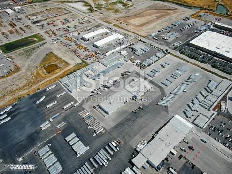 Aerial View of a large trucking facility.