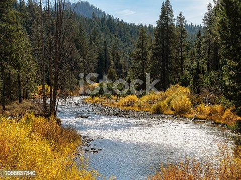 Truckee river in California during Autumn.