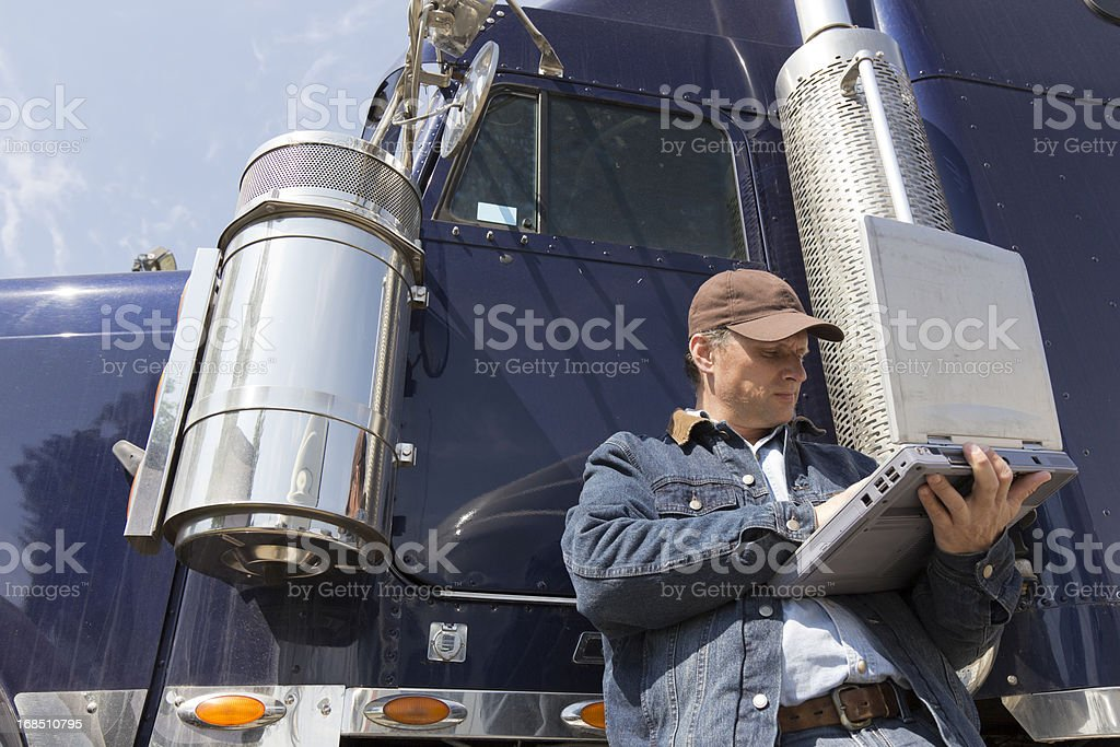 Trucker and Computer royalty-free stock photo