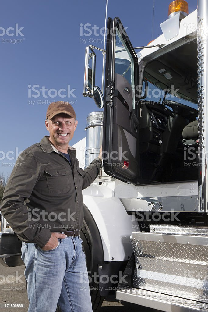 Trucker and Rig royalty-free stock photo