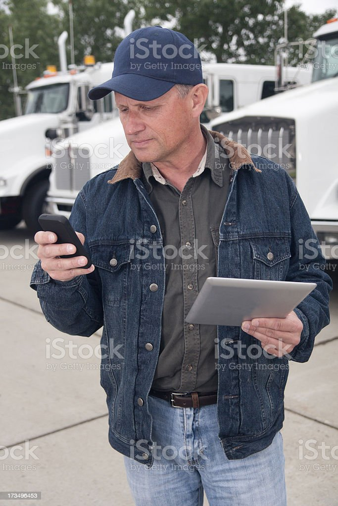 Trucker and Technology royalty-free stock photo
