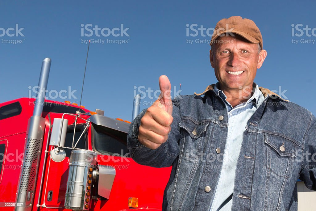 Trucker and Thumbs Up Positivity stock photo