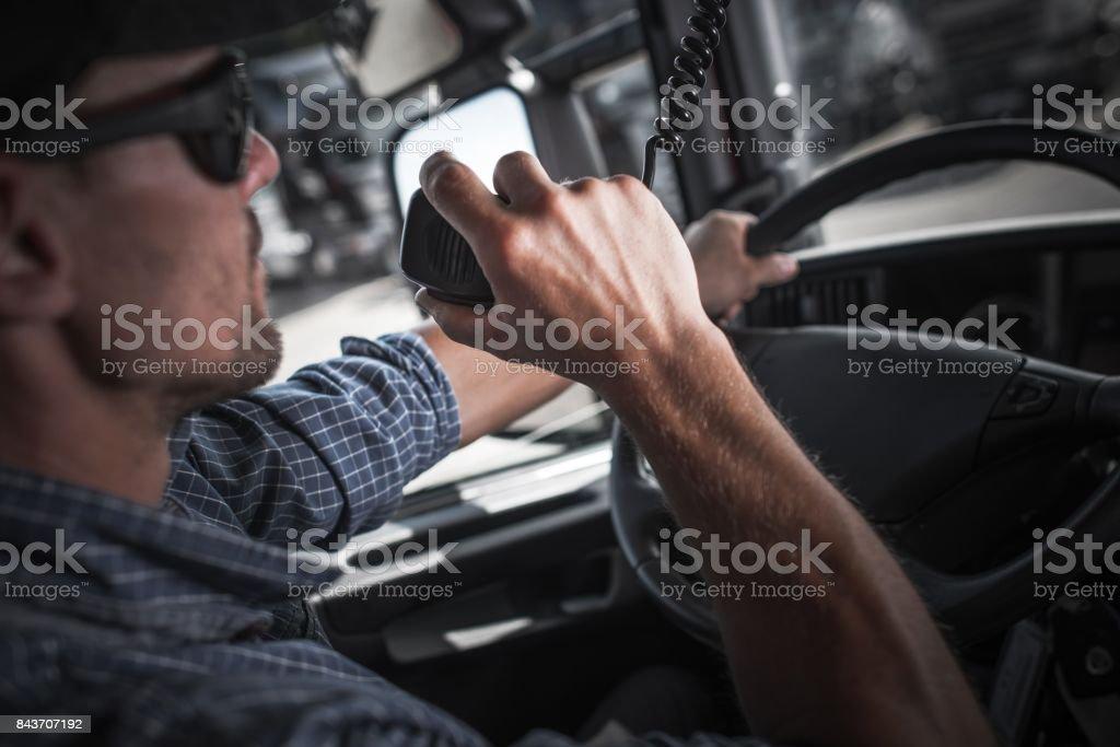 Trucker CB Radio Talk stock photo