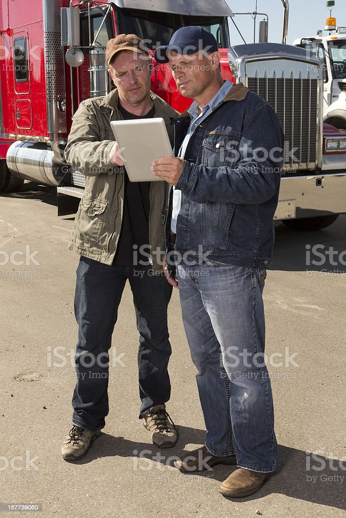 Truckers and PC royalty-free stock photo