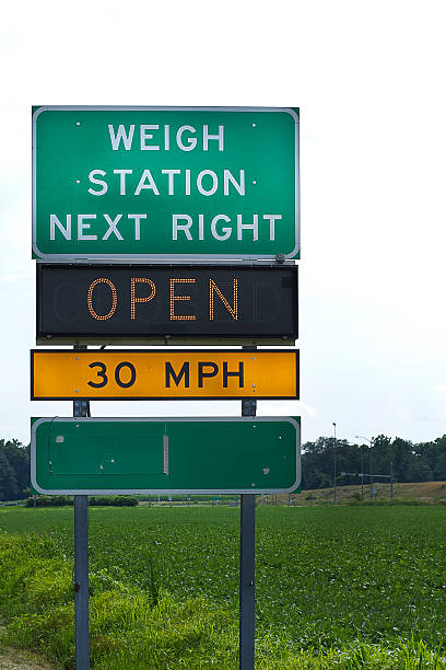 truckers weigh station highway sign - station stock pictures, royalty-free photos & images