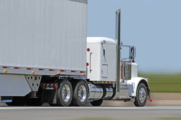 Trucking Freight, Close-up, Blurred Background stock photo