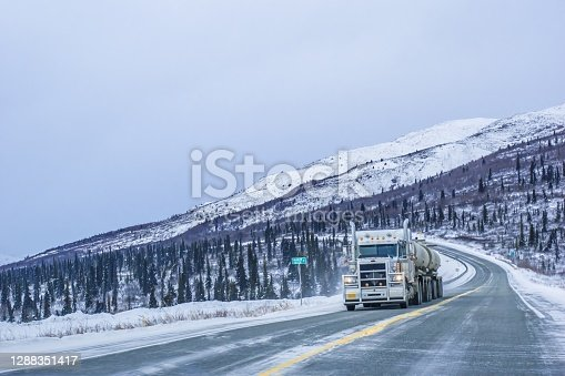 Trucking in Alaska comes with amazing scenery and travel challenges. On this day in late winter, the truck traveled with ease towards Fairbanks, Alaska