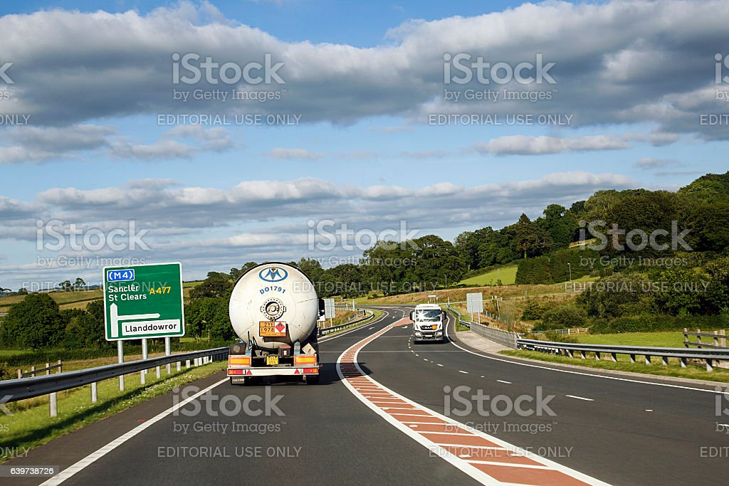 Trucking in UK - A477 stock photo