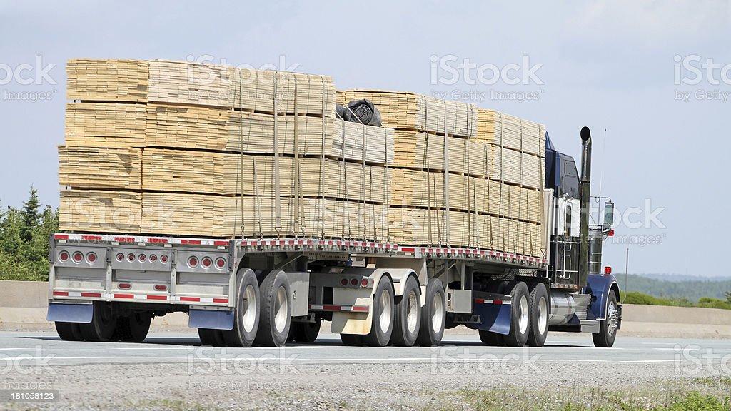 Trucking Lumber stock photo