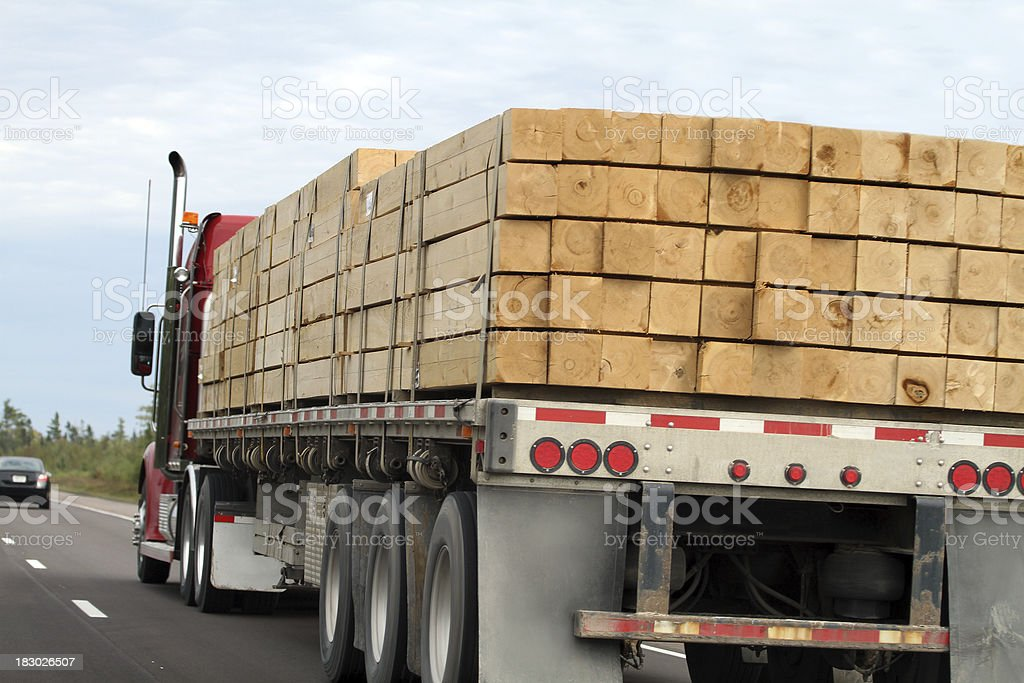 Trucking Lumber royalty-free stock photo