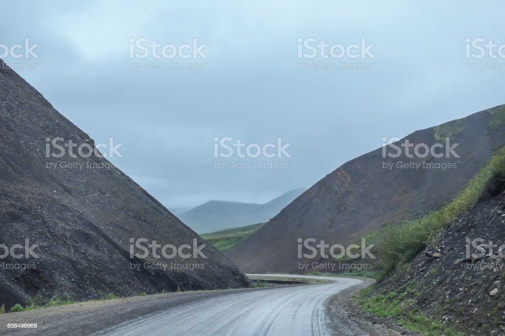 Trucking on the Dempster Highway, NWT stock photo