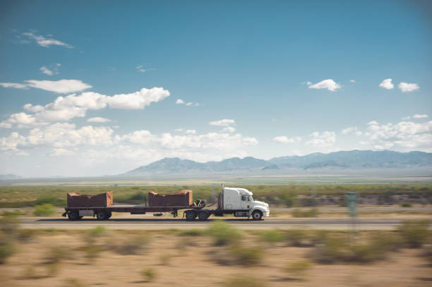 Trucking USA Desert Landscape stock photo