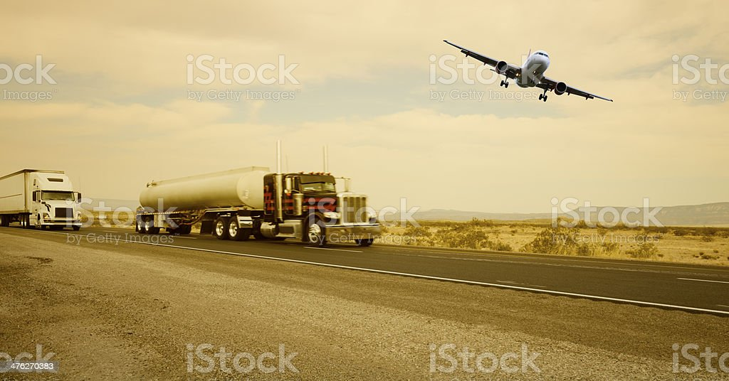 Trucks and Airplane royalty-free stock photo