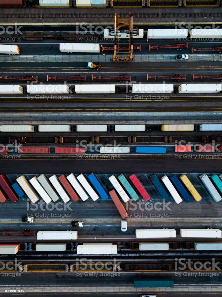 Trucks and Trains from Above stock photo
