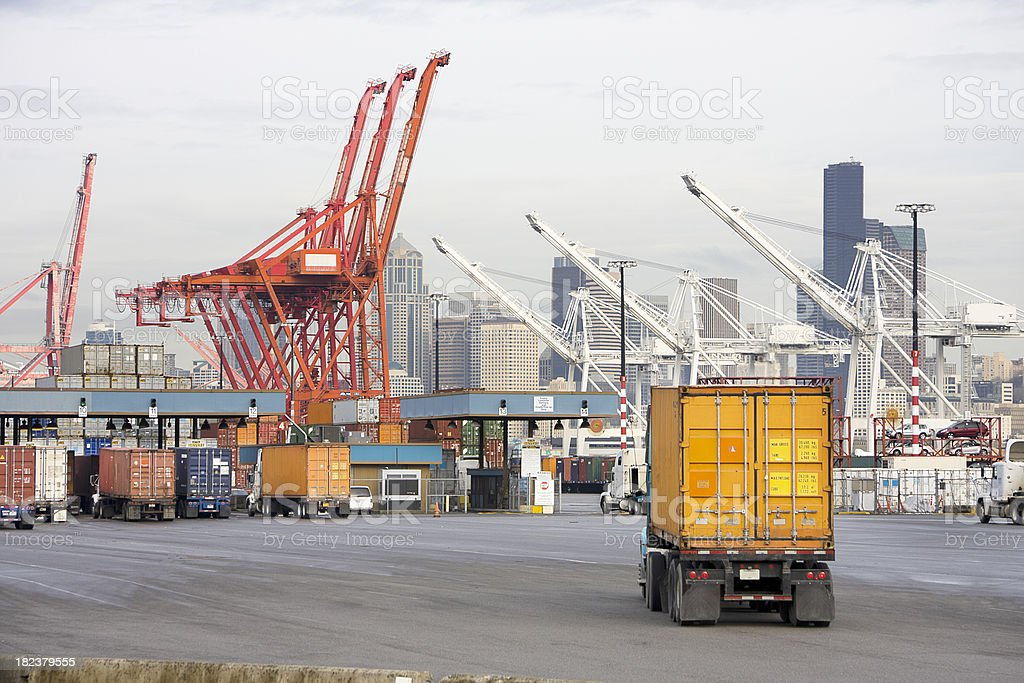 Trucks Arriving at Port for Shipping royalty-free stock photo