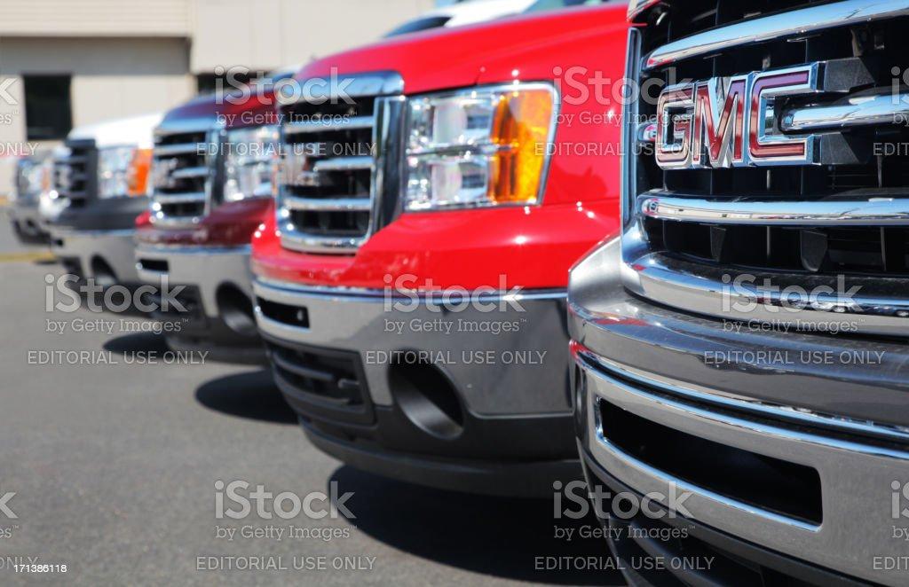 GM Trucks at Dealership stock photo