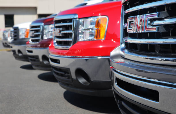 GM Trucks at Dealership stock photo