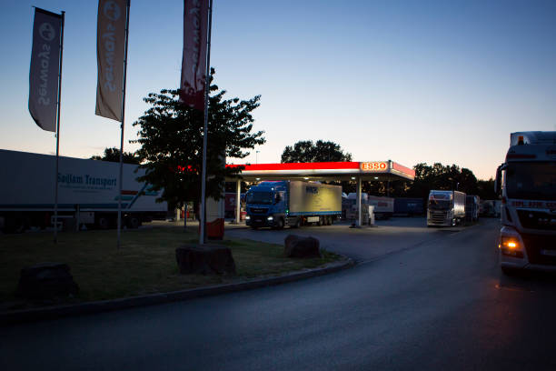 Trucks at rest area - Medenbach, Germany stock photo