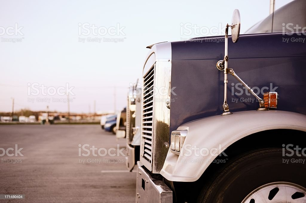 Trucks at Truck Stop in USA stock photo